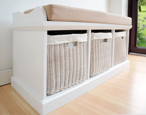 Tetbury Hallway Bench White Storage With Baskets And Cushion Ebay