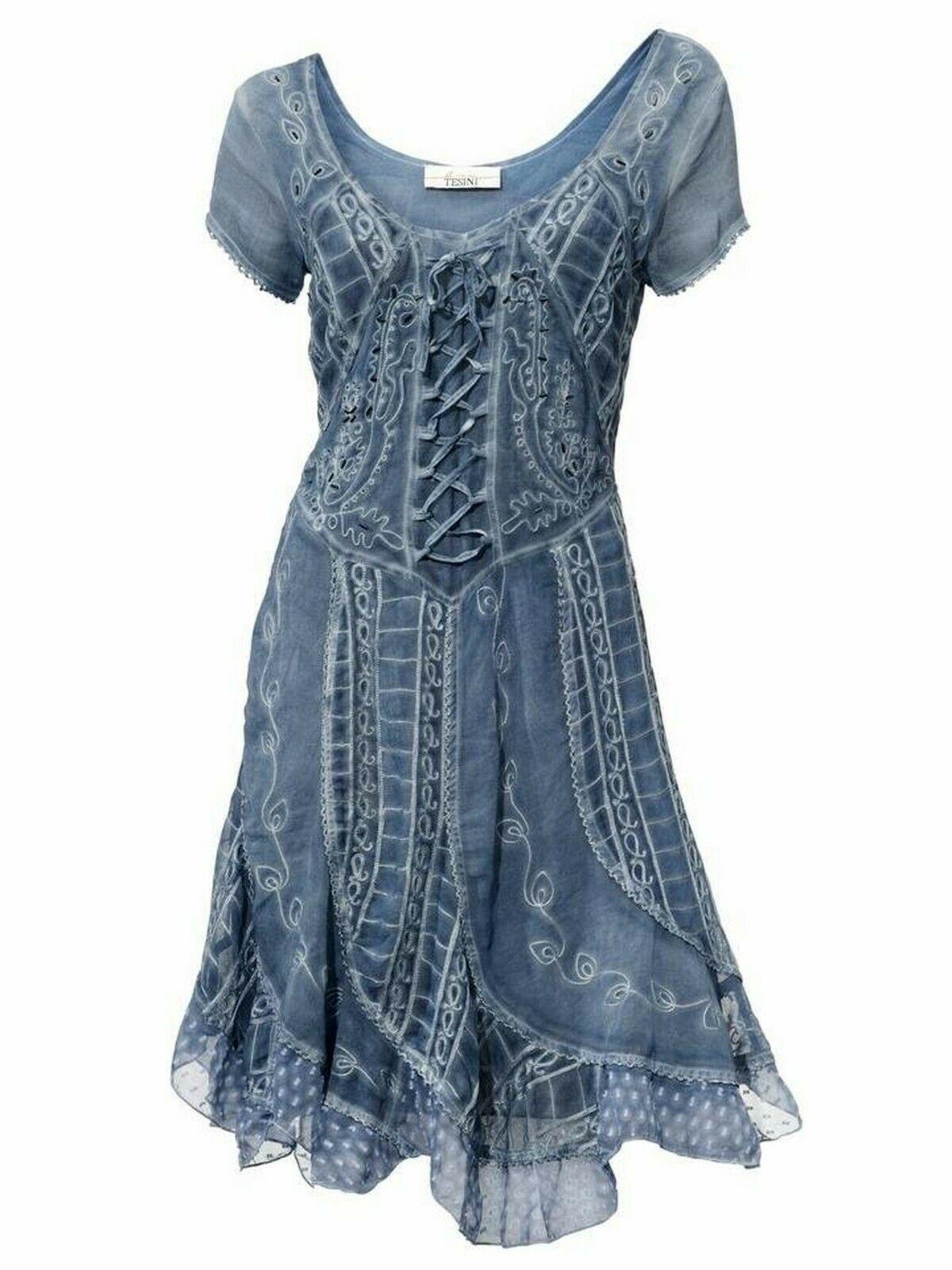Super schönes Kleid Linea Tesini rauchblau Gr.17 top Zustand