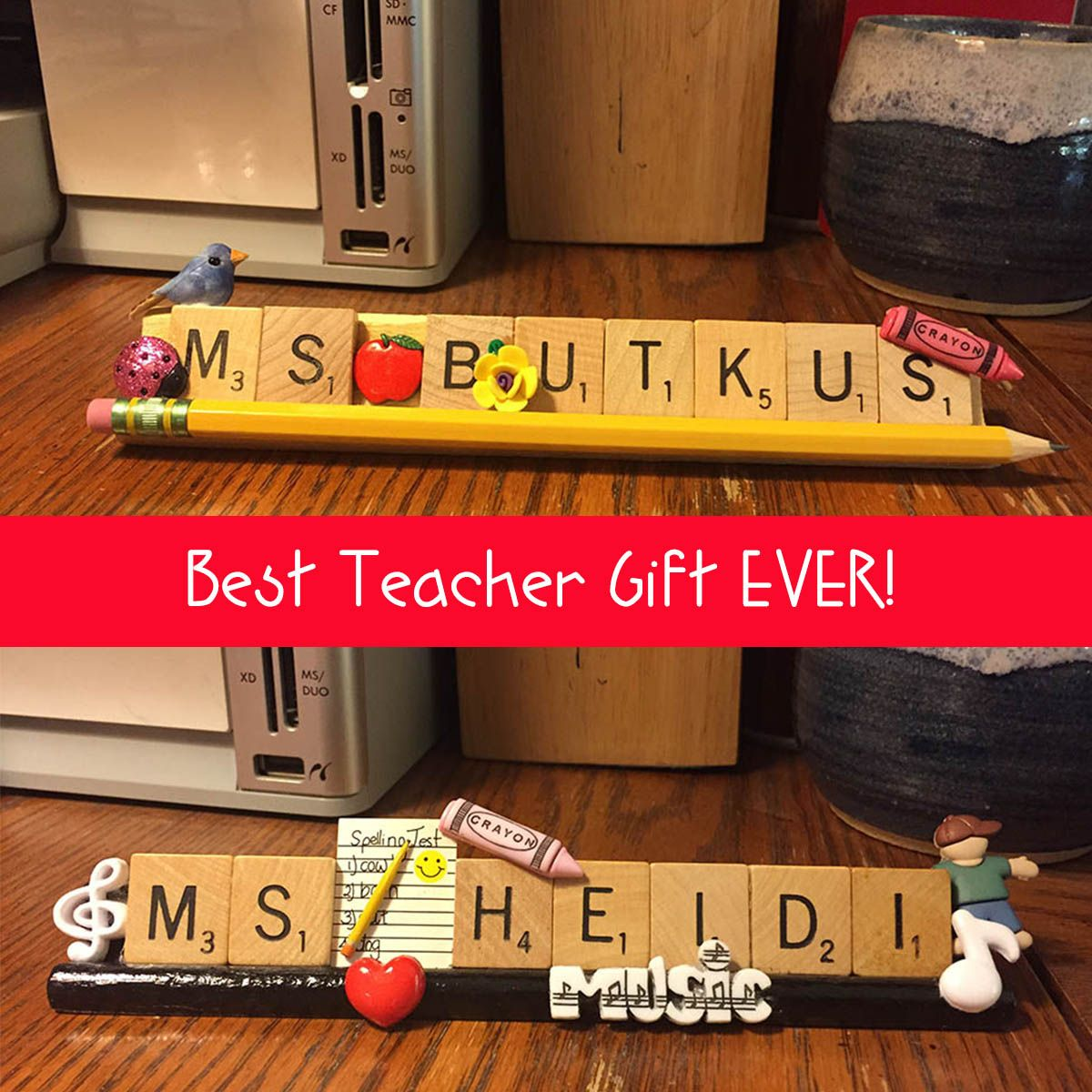 Personalized Name Plate for Office, Home, Teacher, Boss, Gift Using Scrabble Letter Tiles and Stands