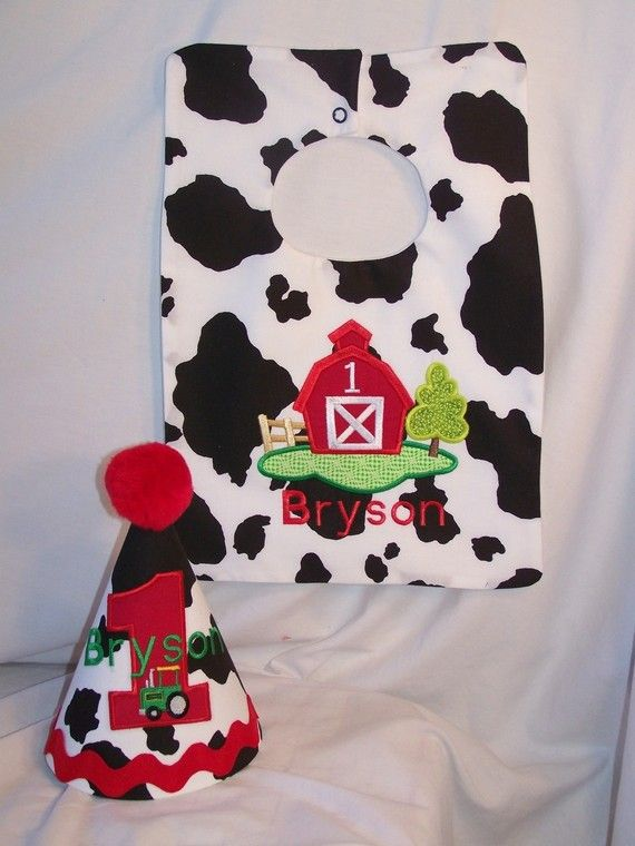 Custom Embroidered Cowboy Western Farm Barn Tractor First Birthday Hat And Bib 3300 Via