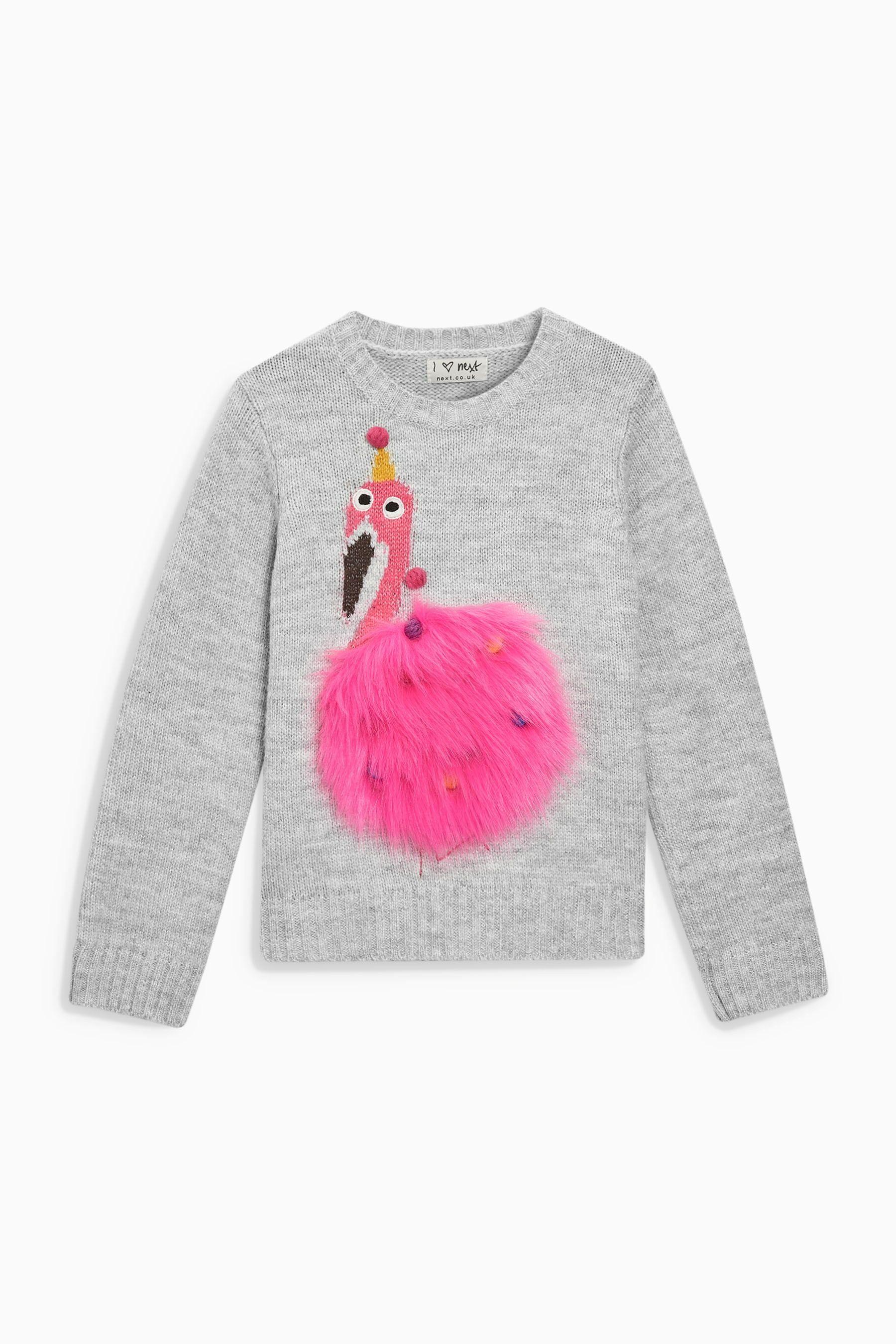 Acheter Pull duveteux gris à motif flamant rose (3-16 ans) from Next ... 0feec58a193