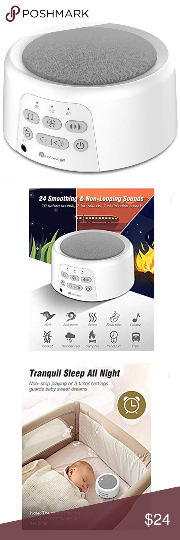 24 Timer Sound white noise sound machine, 24 non-looping sounds this sleep