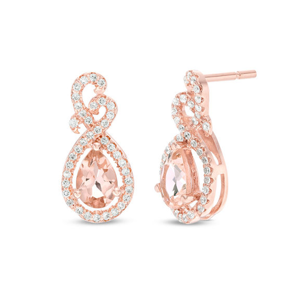 Pear Shaped Morganite And 1 5 Ct T W Diamond Teardrop Earrings In 10k Rose Gold Teardrop Earrings Diamond Drop Earrings Crystal Earrings