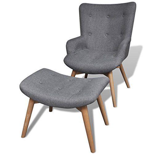 Gepolsterter-Sessel-mit-Hocker-grau Schmuckles / Möbel
