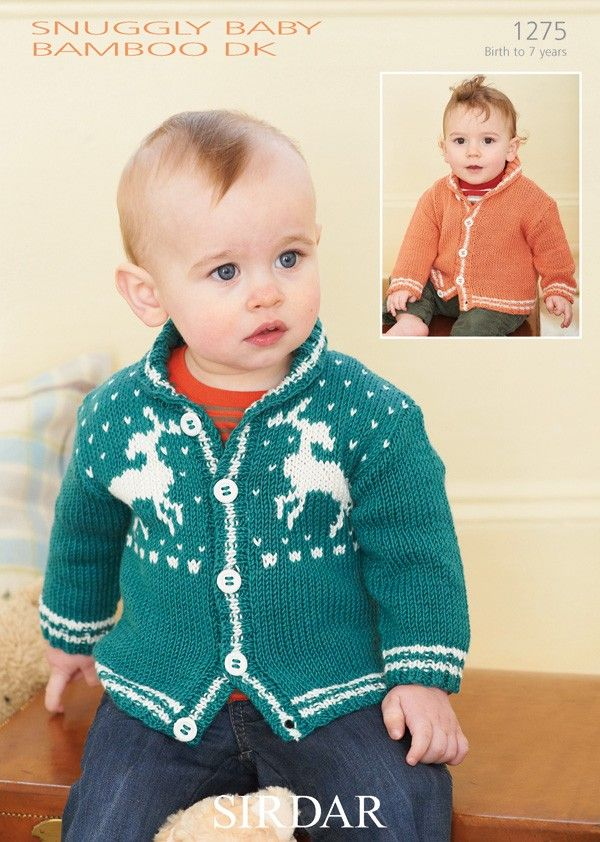 bb8a936eb Fair Isle and Plain Cardigan in Sirdar Snuggly Baby Bamboo DK - 1275 ...