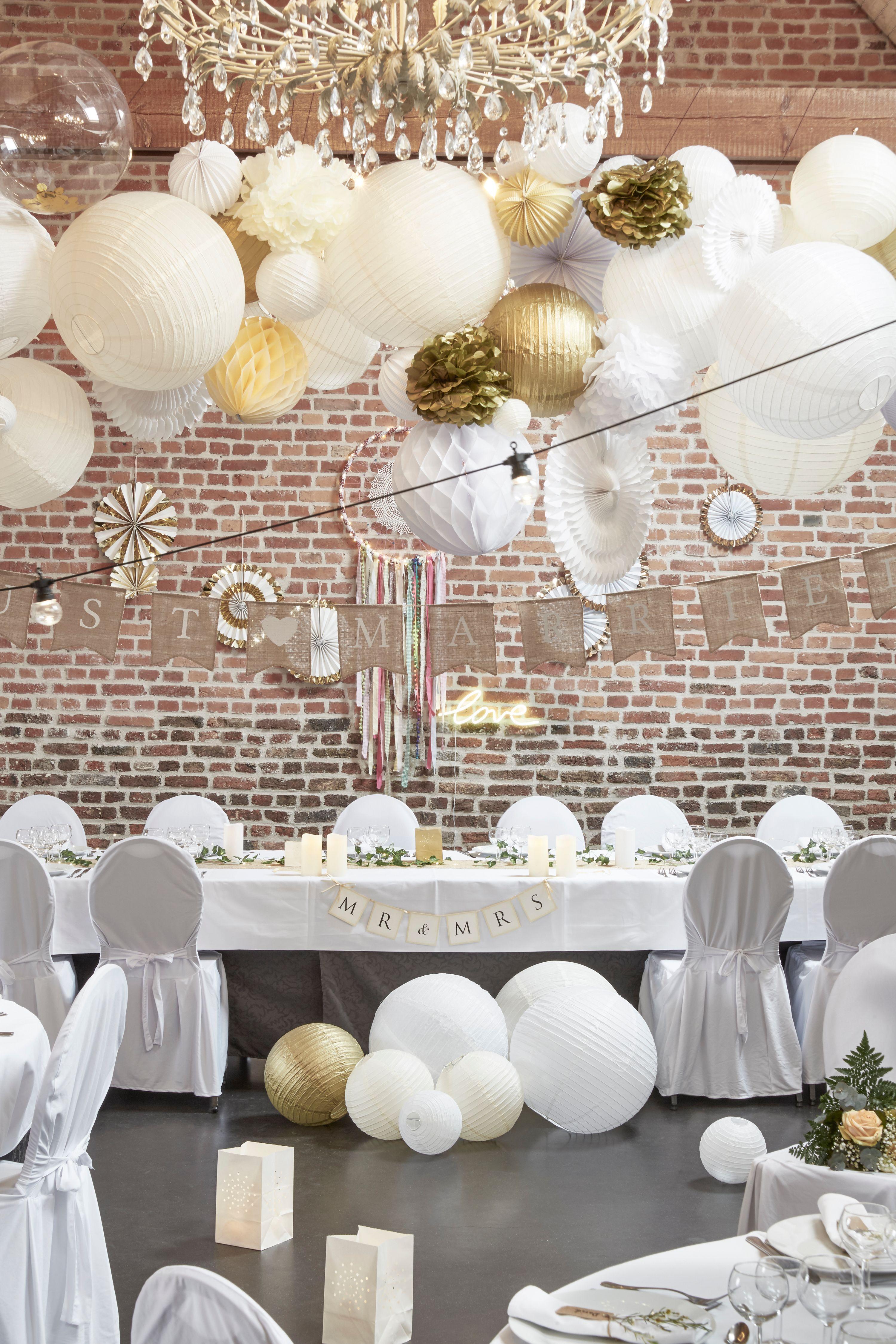 d co mariage champ tre guirlande fanion jute just married boules papier ivoire blanc or. Black Bedroom Furniture Sets. Home Design Ideas