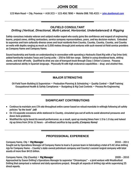 Oil And Gas Manager Resume - The best estimate professional