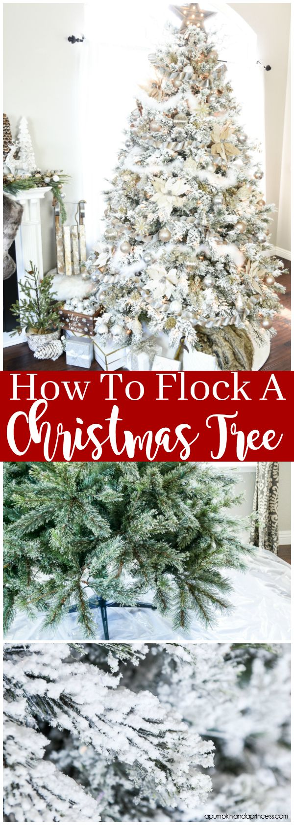 How To Flock A Christmas Tree Flocked Christmas Trees Decorated Frosted Christmas Tree Diy Christmas Tree