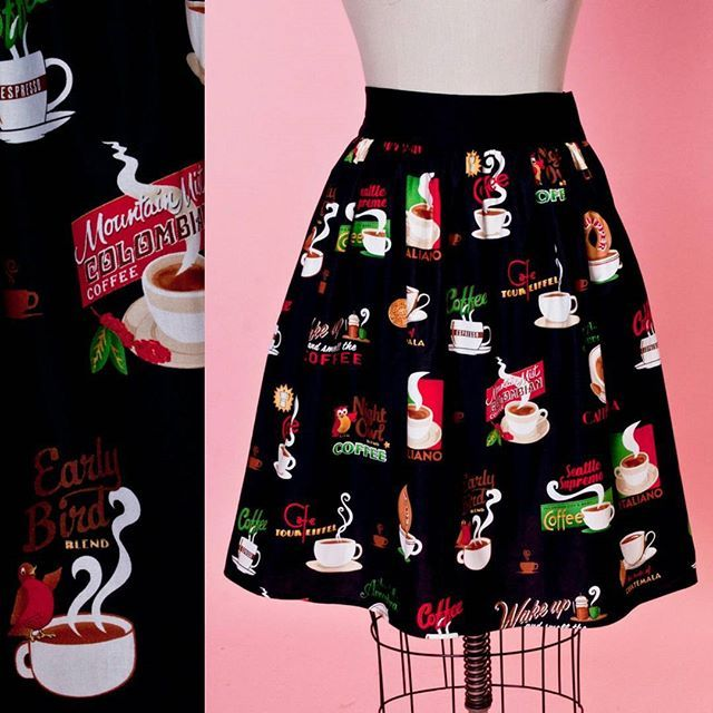 A #HauteHoney exclusive for the #CoffeeLoving cuties out there!  These Gypsy skirts are new and improved with two elasticized panels on the back for a more comfortable fit! Available now in XS-2X. ☕ -Alisa #heartofhaute #retro #coffee #gypsyskirt