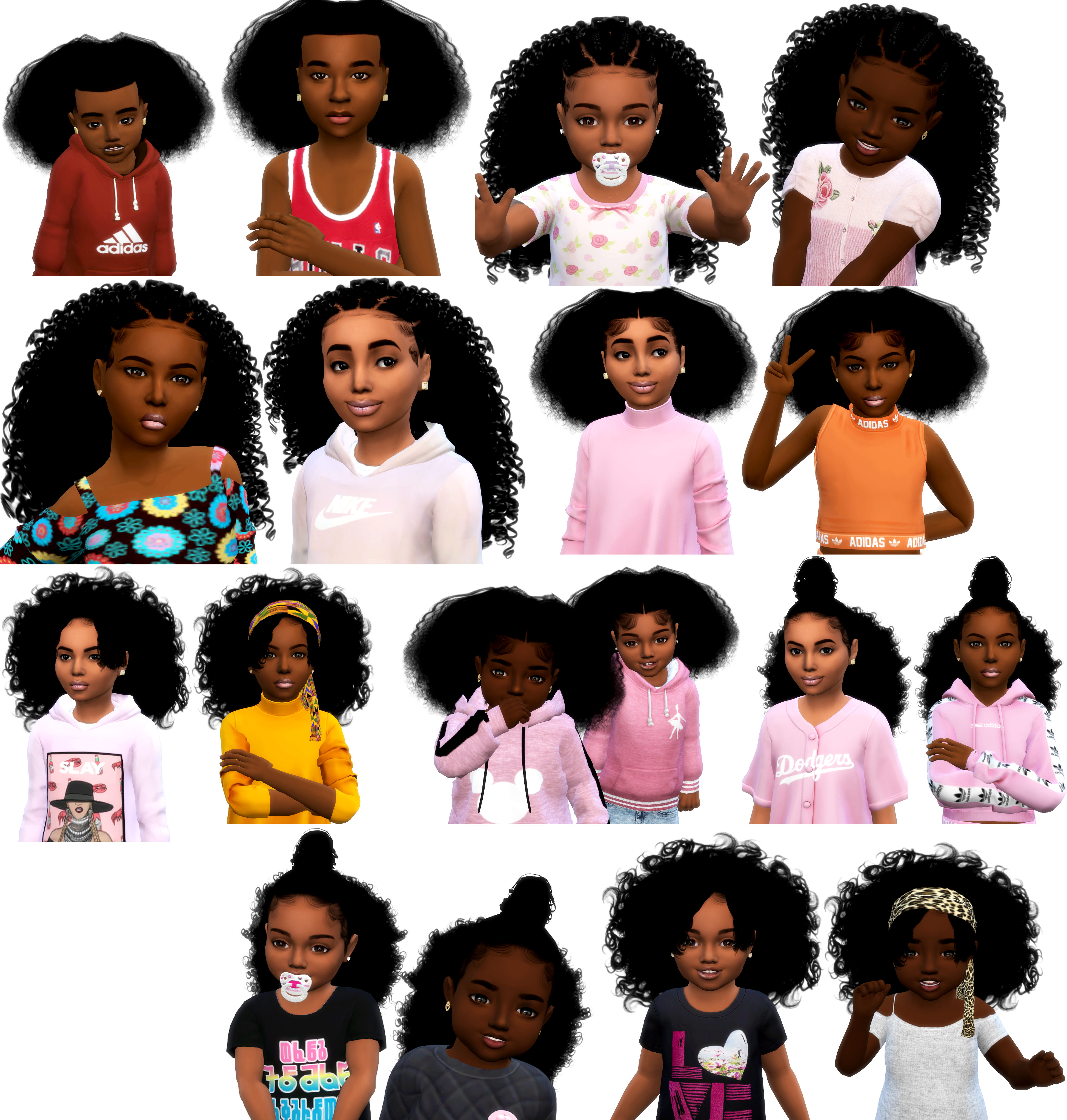 Sims 4 Cc Custom Content Hairstyle Black Simmer African American Child And Toddlers Hair Pack Toddler Hair Sims 4 Sims 4 Curly Hair Toddler Hair