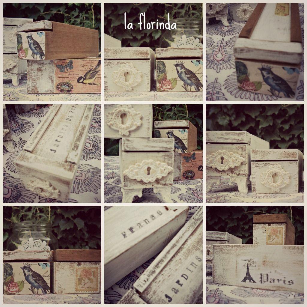 Antiguas cajitas de madera con tapa corrediza. Recicadas al estilo vintage, con imágenes y apliques.                            Medidas : 17...