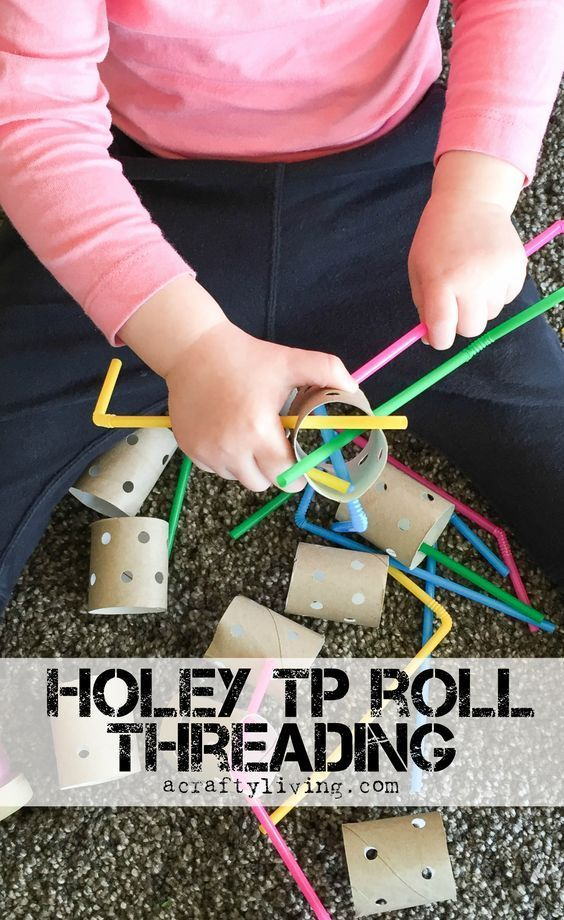 Holey Tp Roll Threading With Straws Inexpensive Fine Motor Activity For Your Special Education Cl Toddler Activities Preschool Activities Preschool Fine Motor