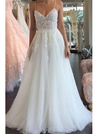 Schlicht Brautkleider Spitze Weiß Späghetti Träger A Line Hochzeitskleider Günstig Online Modellnummer: SP0435