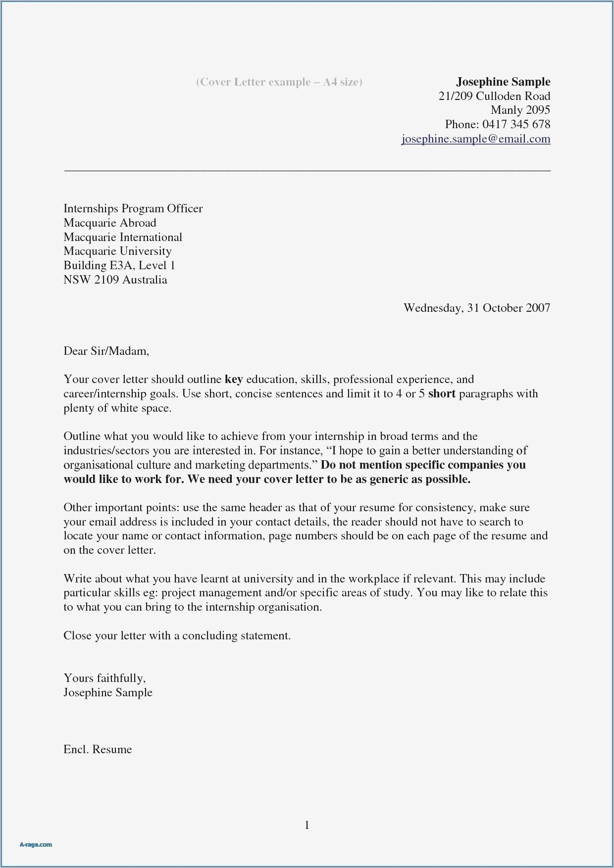 Best Refrence New Internship Application Letter Doc By