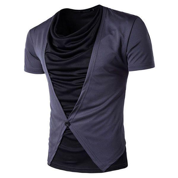Arilce Indian-Motorcycle Men Polo Shirt Short Sleeve Lapel Blouse Black