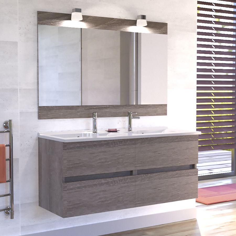 Miroir Salle De Bain 120 Cm meuble rosaly 120 cm avec plan vasque et miroir - bois