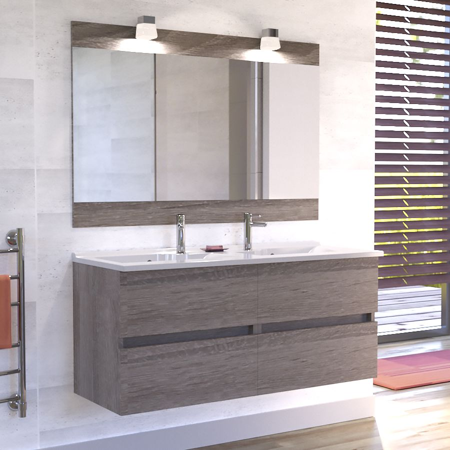 Meuble De Salle De Bain Rosaly 120 Cm Bois Avec Plan Double Vasque Et Miroir Single Vanity Bathroom Vanity Vanity