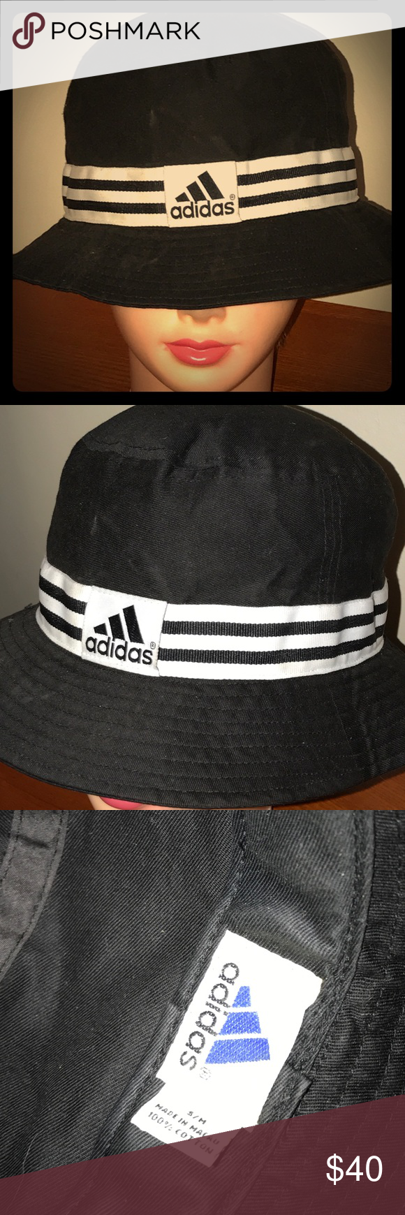 afe9632c3ff Vintage old school Adidas bucket hat Old-school Adidas vintage bucket hat  size small to a medium hundred percent cotton adidas Accessories Hats