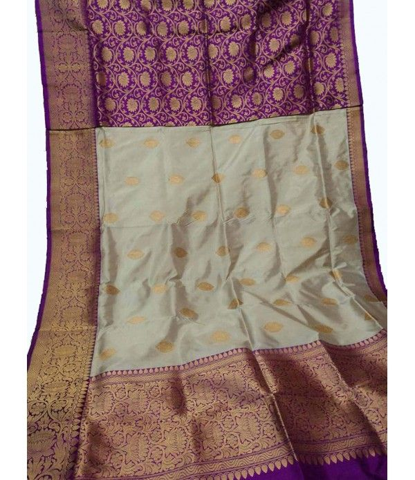 51a25c5d1 Off White and Purple Banarasi Katan Silk Half   Half Design Saree ...