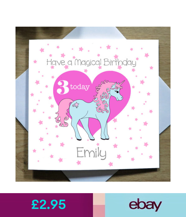 Kids Handmade PERSONALISED Pink Unicorn Girls Childrens Birthday Card