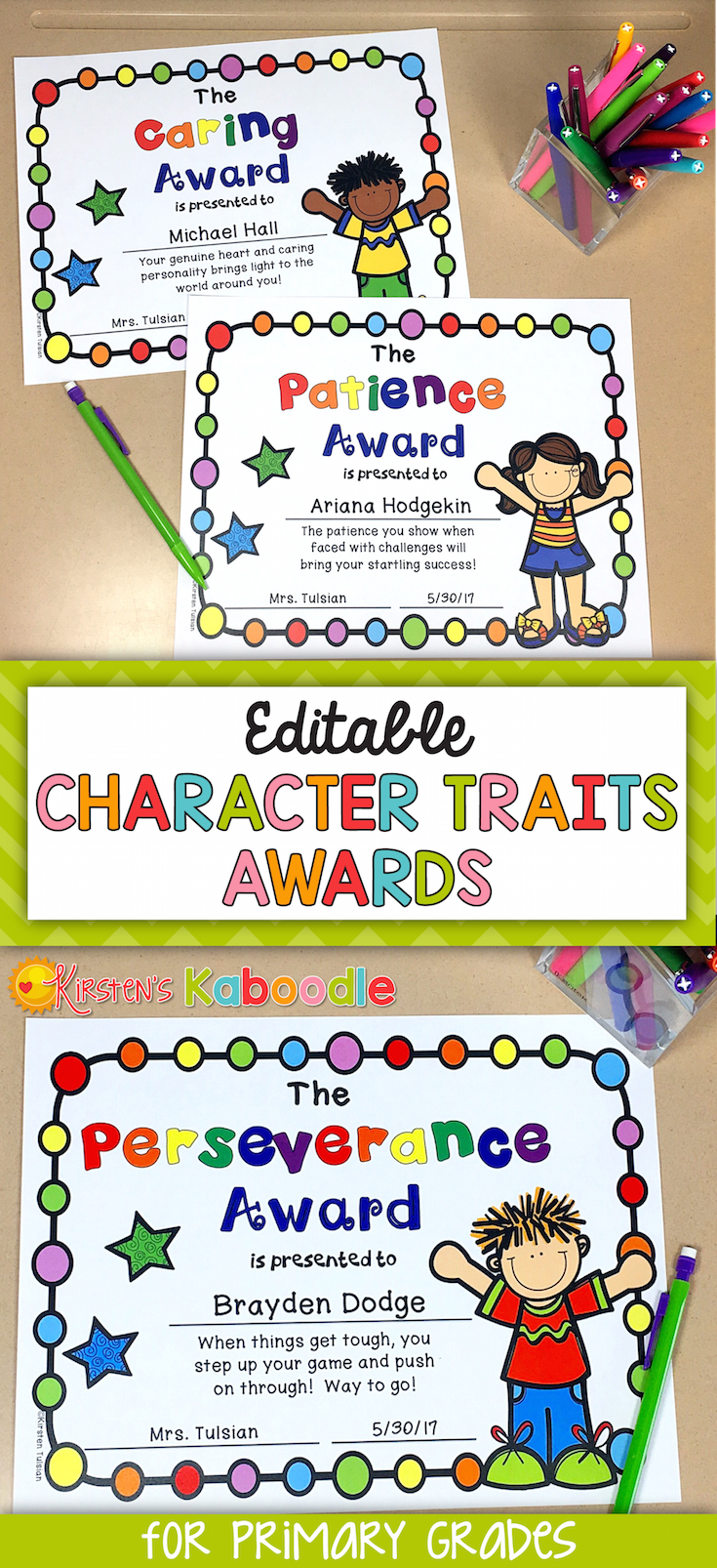These character traits awards are perfect for any Kindergarten, 1st, 2nd,  or 3rd grade classroom. The best part about these end of year ...