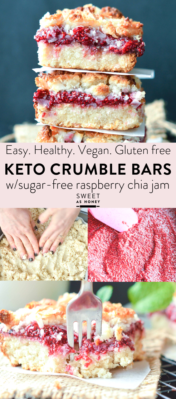 Raspberry Crumble Bars - Keto + vegan - Sweetashoney #ketodessert