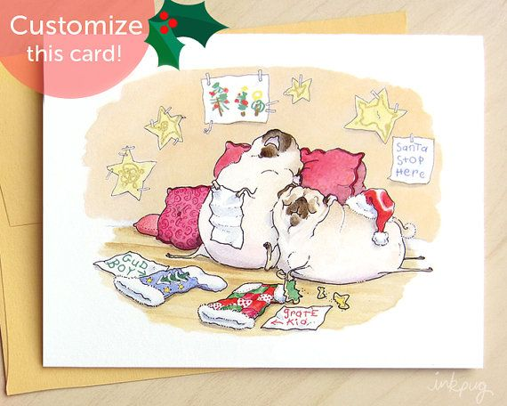 Waiting for Santa pug Christmas cards - handmade personalized funny holiday cards with two pugs by Inkpug