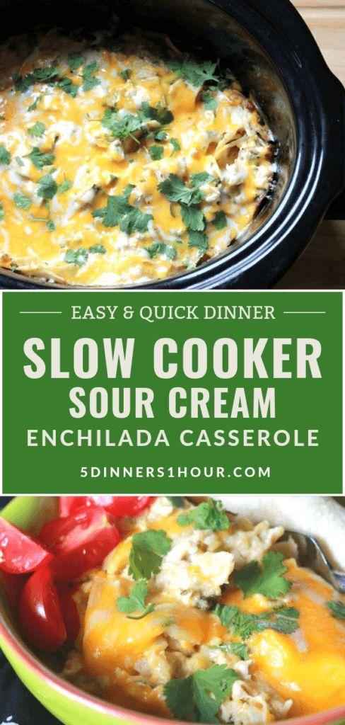 Slow Cooker Sour Cream Enchilada Casserole  5 Dinners In 1 Hour  Slow Cooker Sour Cream Enchilada Casserole  5 Dinners In 1 Hour  Slow Cooker Sour Cream Enchilada Cassero...