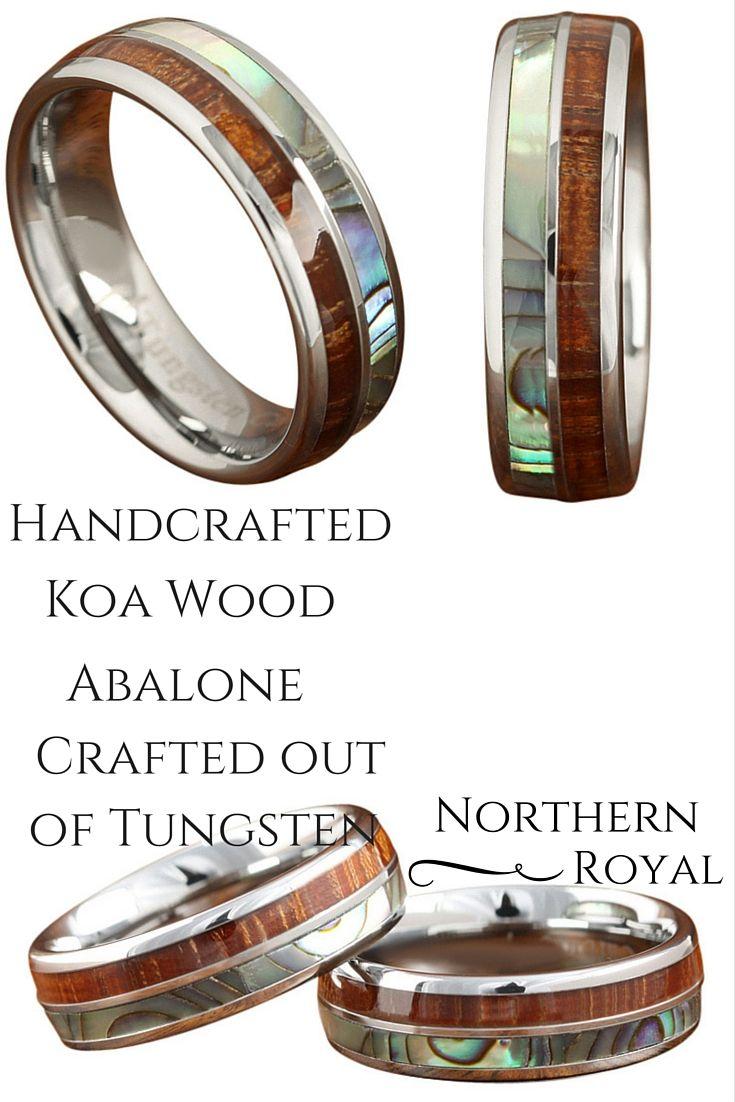 Koa wood abalone tungsten two tone wedding ring half wood shell mm