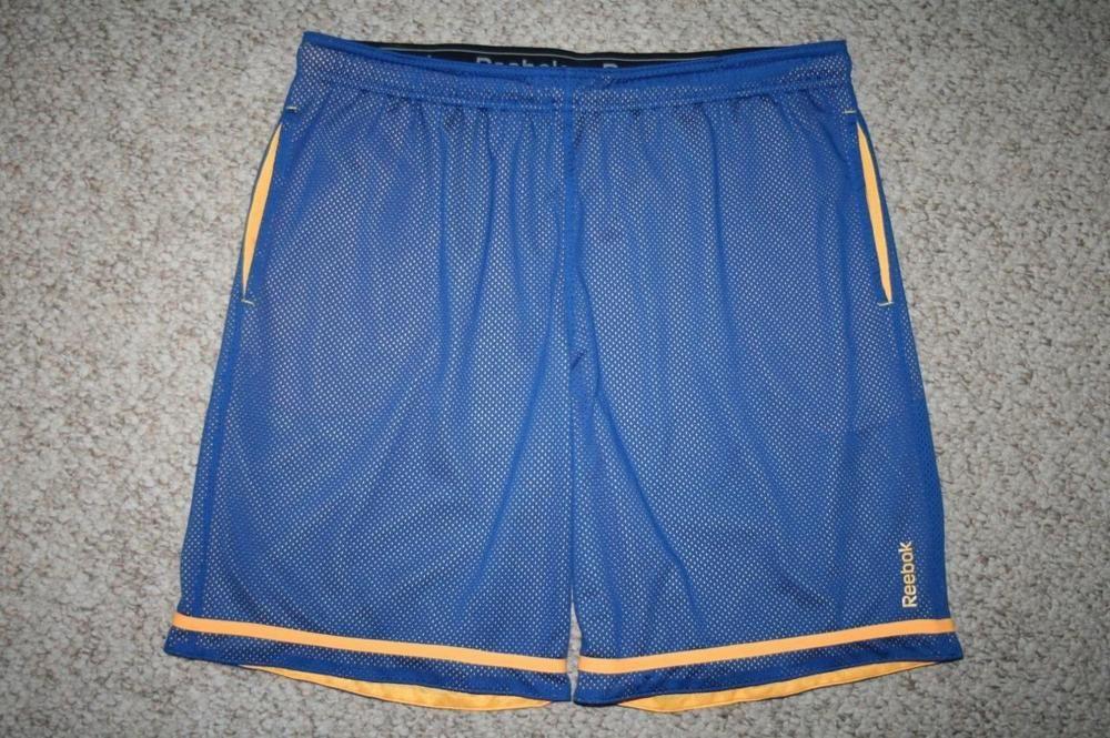 98d57b400dbd XL Reebok shorts blue yellow 100% polyester athletic mens extra large 38
