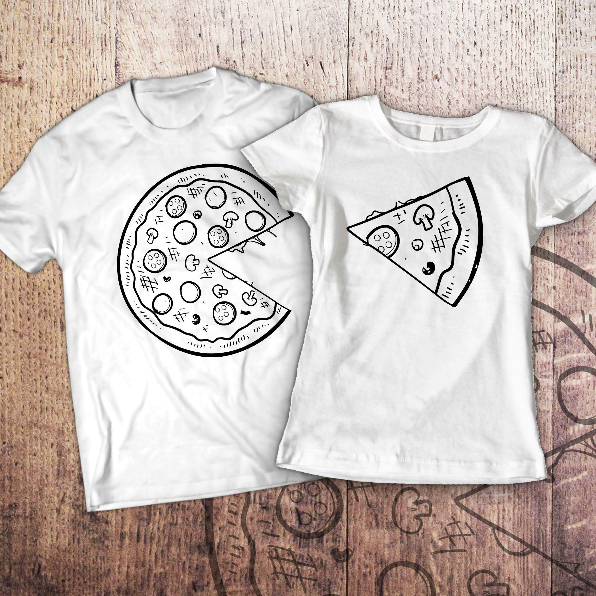 b8a84103c Pizza t shirt / piece of pizza / couple shirts / matching   Koszulki ...