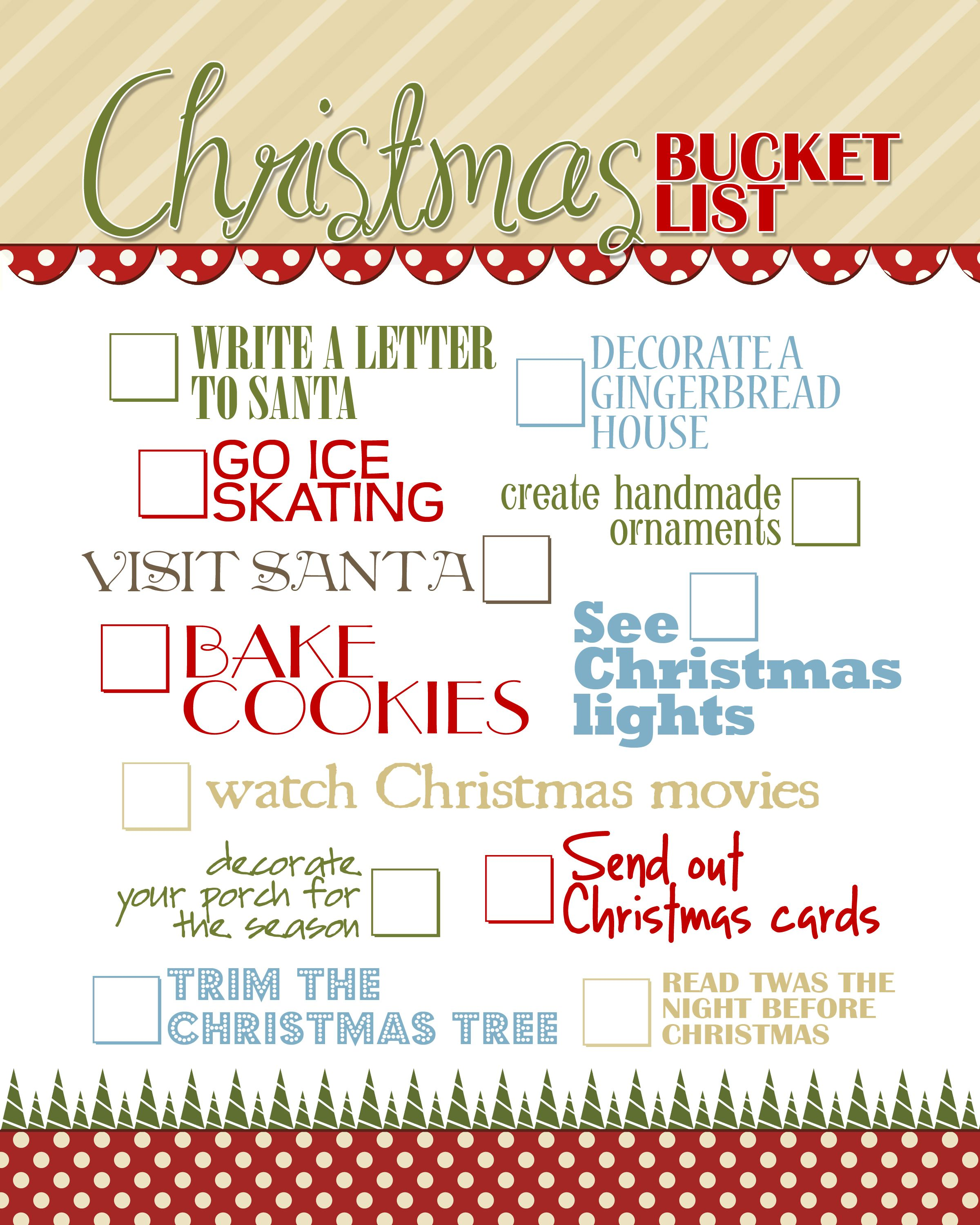 christmas bucket list free printable