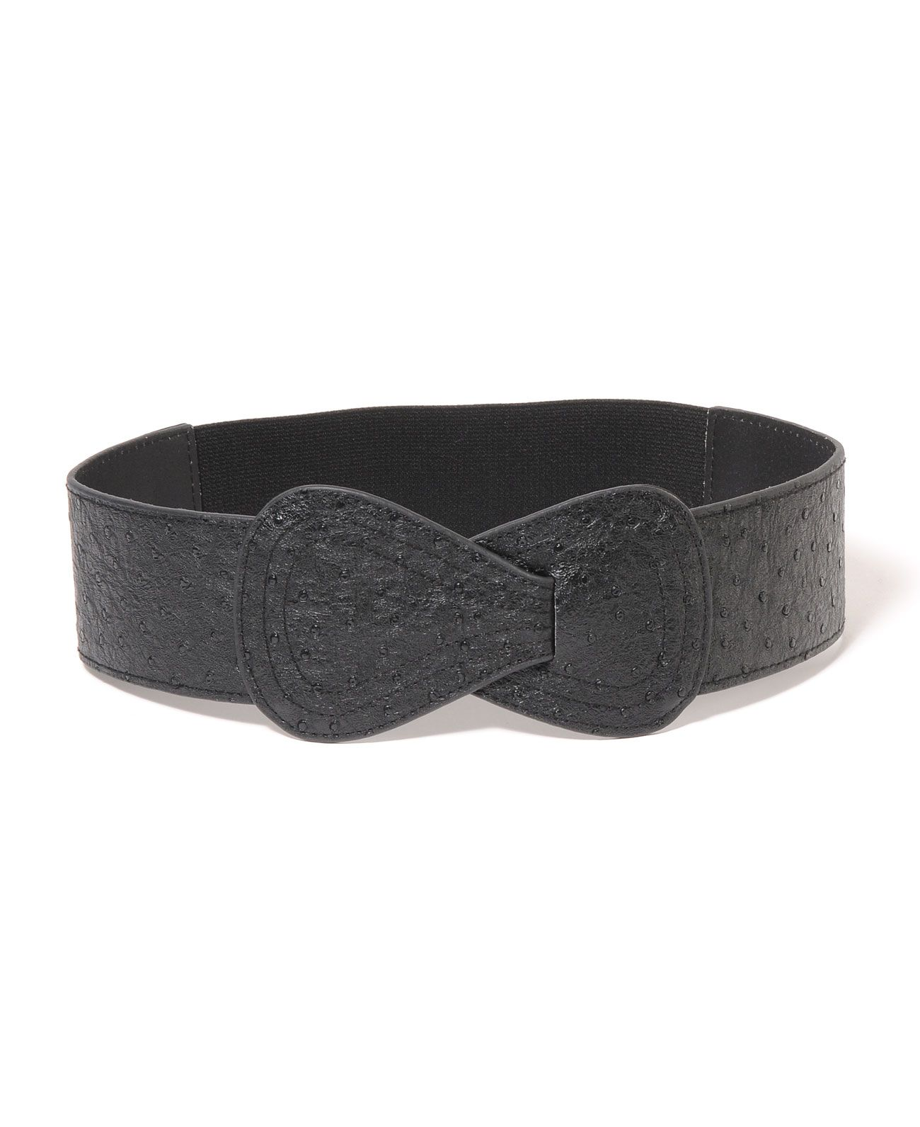 Elise M Collection Ostritch Stretch Belt With Hook