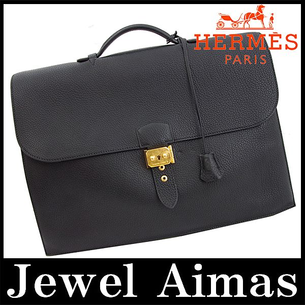 ... sale hermes sac a depeche 41 briefcase documents bag hand bag black  gold metal fjord mens ... a50a6d5bbf0f5
