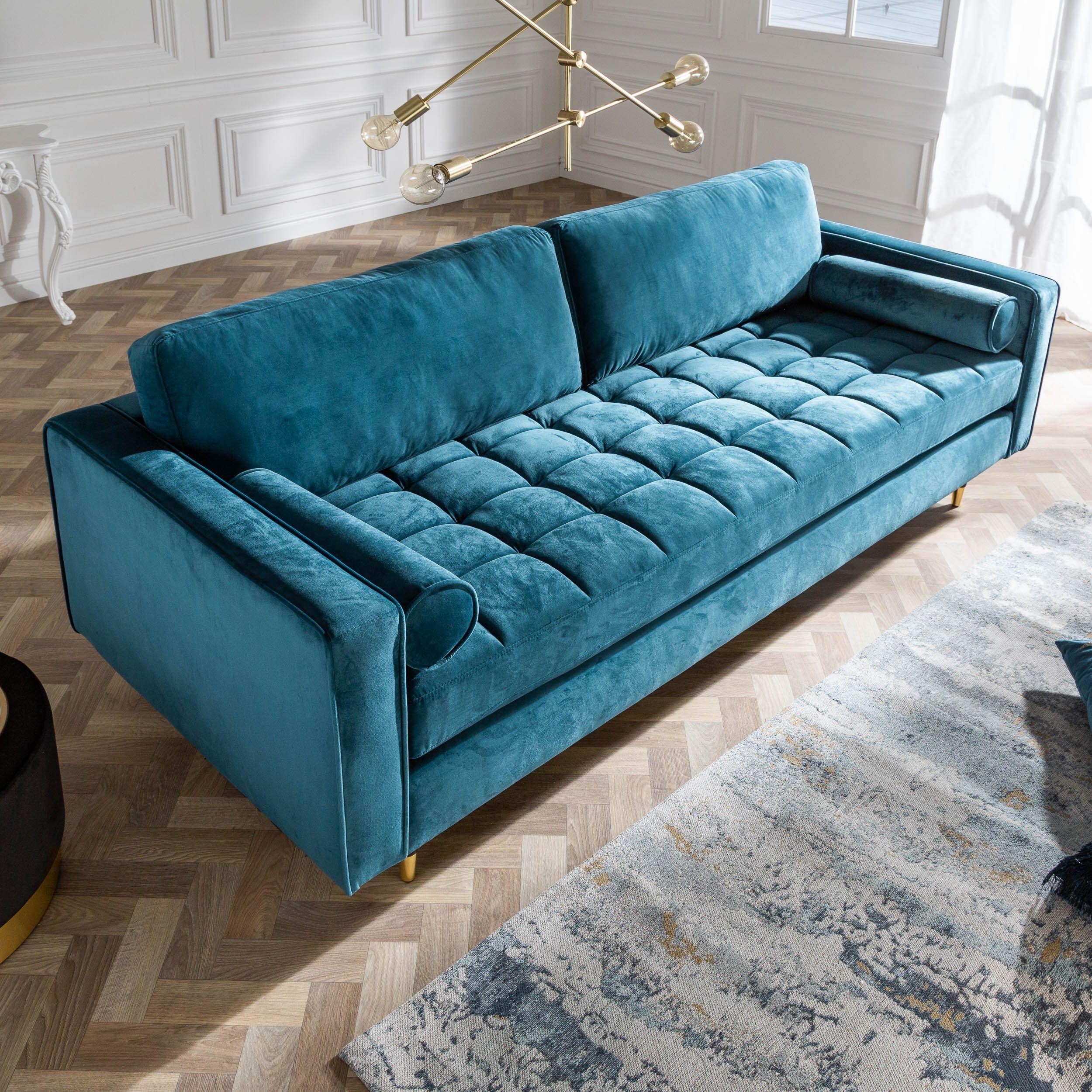 Elegantes Design 3er Sofa Cozy Velvet 225cm Aqua Samt Federkern Riess Ambiente De 3er Sofa Luxusschlafzimmer Sofa