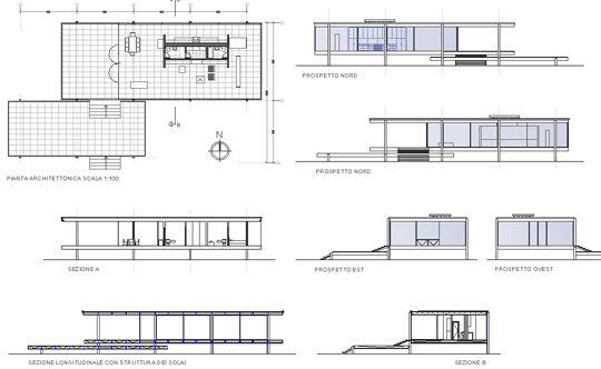 Casa farnsworth pianta i maestri mies van der rohe for Imitazioni sedie design