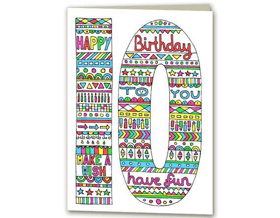Birthday Card for 10 Year Old Girls Birthday Card Age 10 Birthday Card