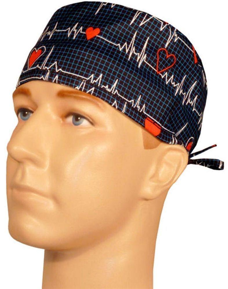 cf3f868e1fa SURGICAL SCRUB HAT CAP SWEATBAND HAT EKG ECG Heart QRS COMPLEX DOCTOR NURSE