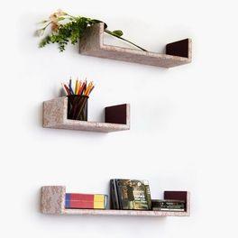 Trista Camel Flower U Shaped Leather Wall Shelf Bookshelf Floating