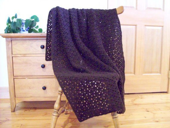 Tremendous Chocolate Brown Crocheted Throw Blanket By Cozyhomecrochet Gmtry Best Dining Table And Chair Ideas Images Gmtryco