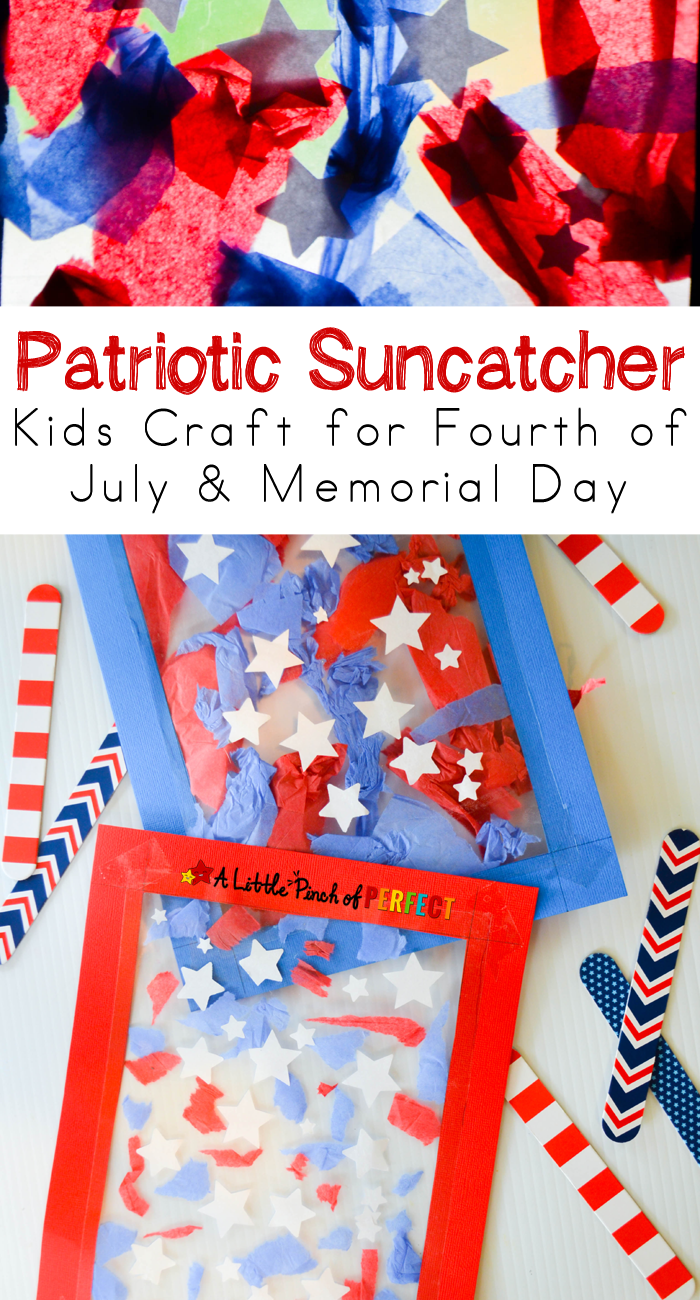 Patriotic Suncatcher Kids Craft For Fourth Of July Memorial Day Flag