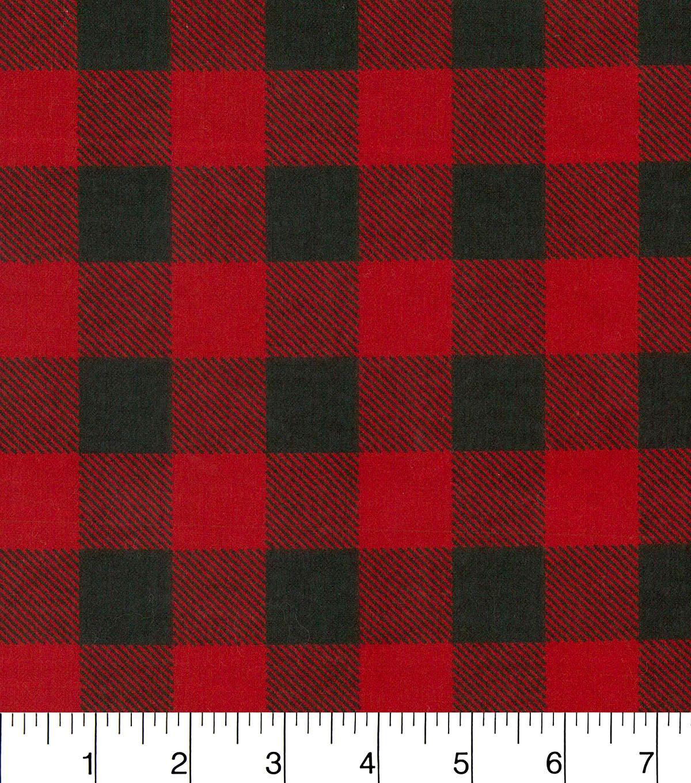 Snuggle Flannel Fabric Red Black Buffalo Check Flannel Fabric Christmas Table Cloth Red Flannel