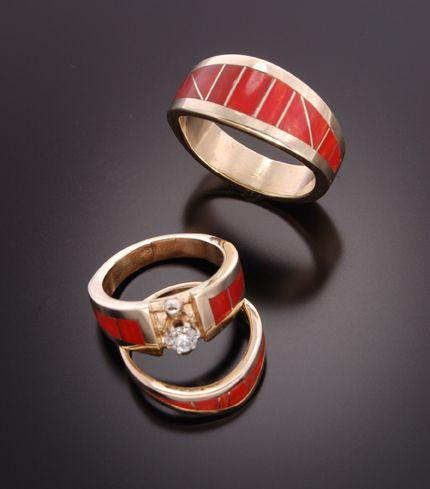 Navajo Gold And Coral Inlay Wedding Ring Set
