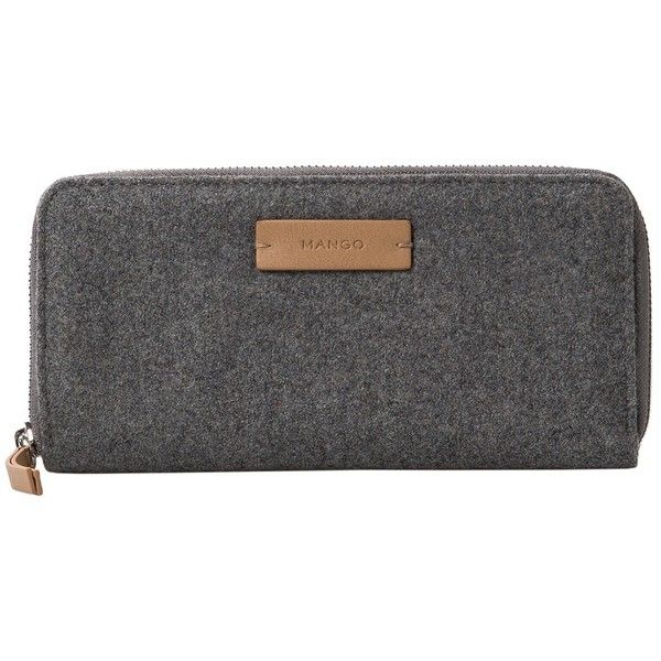 Logo Wool Wallet ($28) ❤ liked on Polyvore featuring bags, wallets, zipper bag, mango bags, logo bags, wool bag and zipper wallet