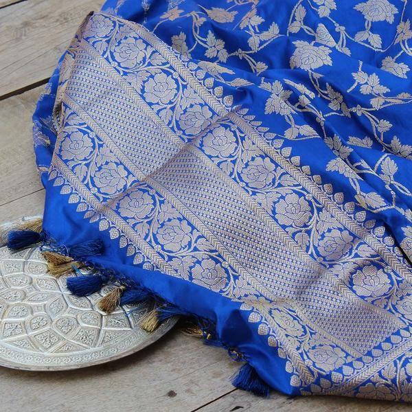 1feb621c26 Royal Blue Pure Katan Silk Banarasi Handloom Kadwa Jangla Dupatta ...