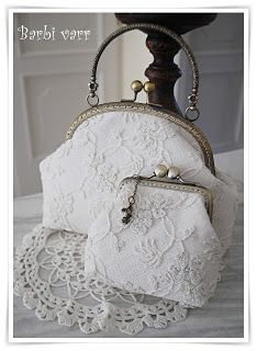 Romantic frame bag and purse with vintage lace