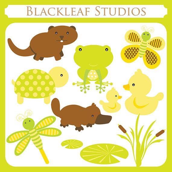 Baby Pond Animals Instant Download Clipart - beaver, otter, ducks ...
