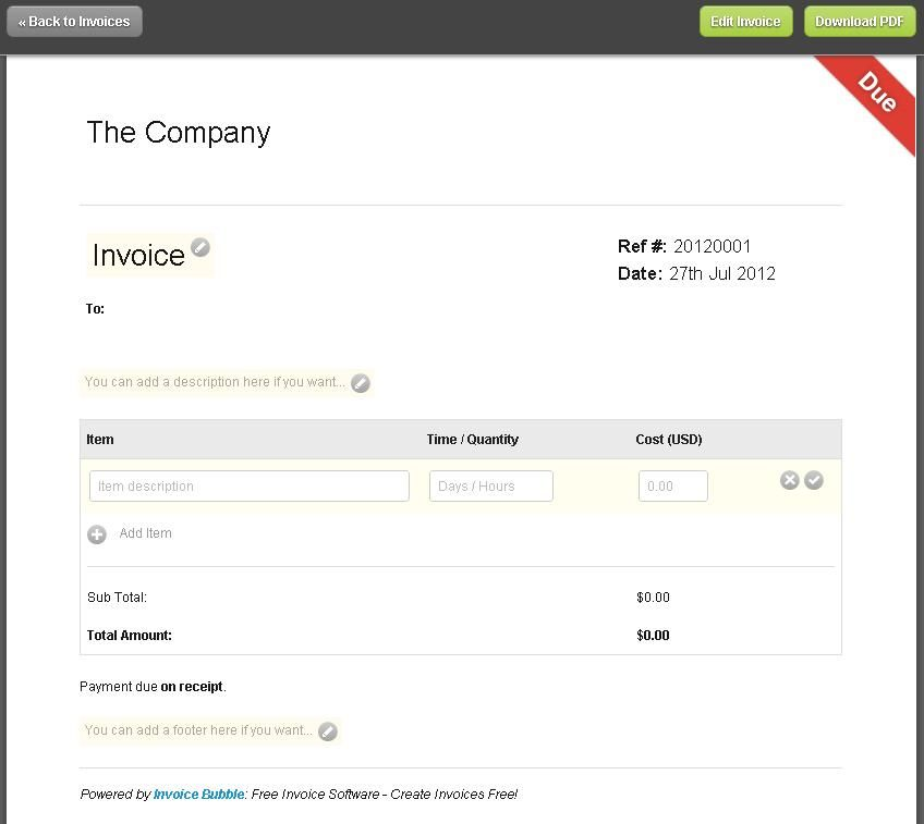 free editable invoice templates printable | the form can be used, Invoice examples