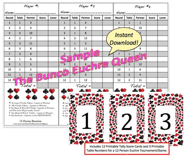 12 Person Euchre Rotation Printable Score Sheet / Score Card