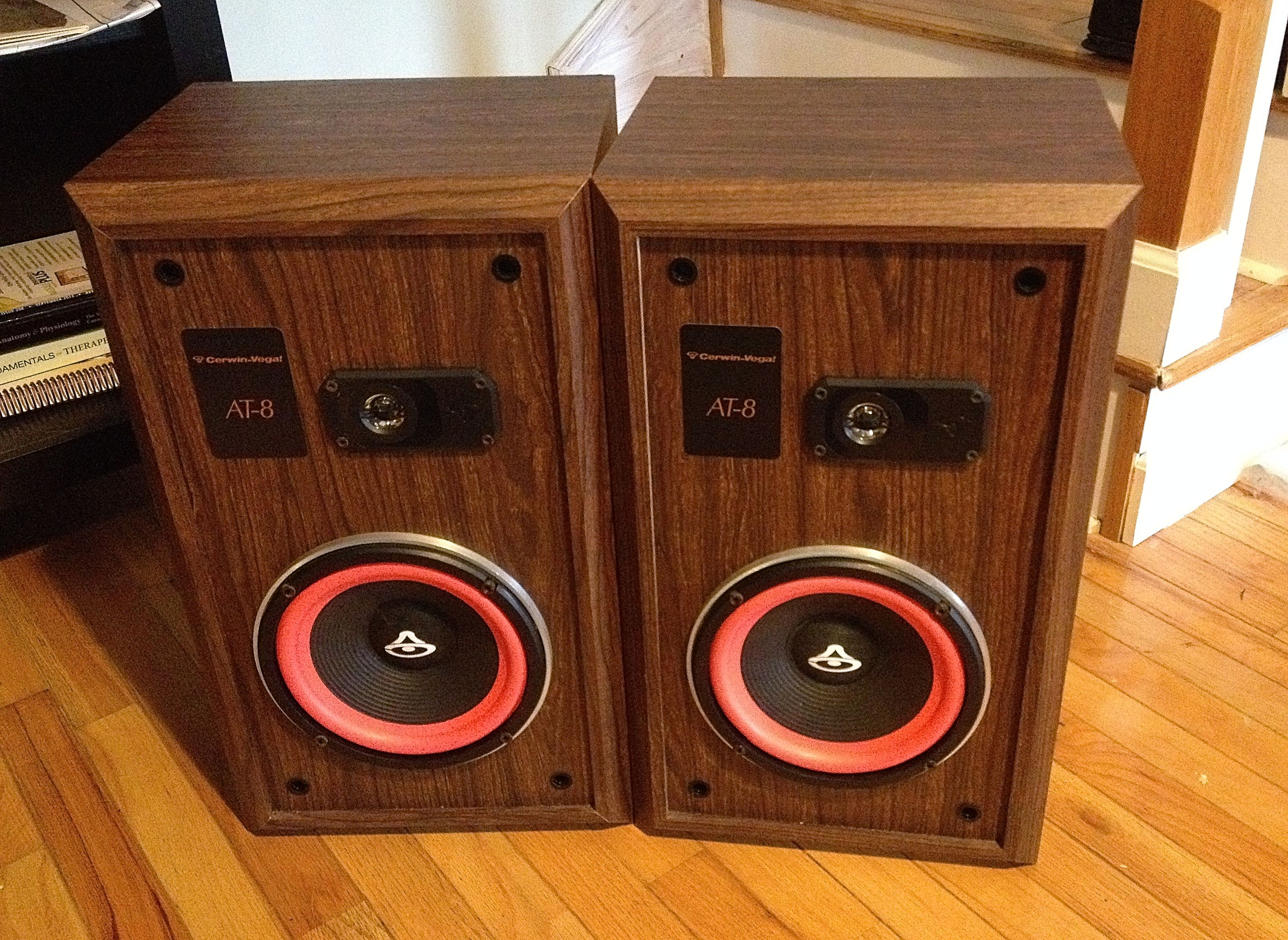 Cerwin Vega AT 8 Floor Bookshelf Speakers Made In The Early 90s Took Grilles Off So You Could See Trademark Orange Speaker Surrounds